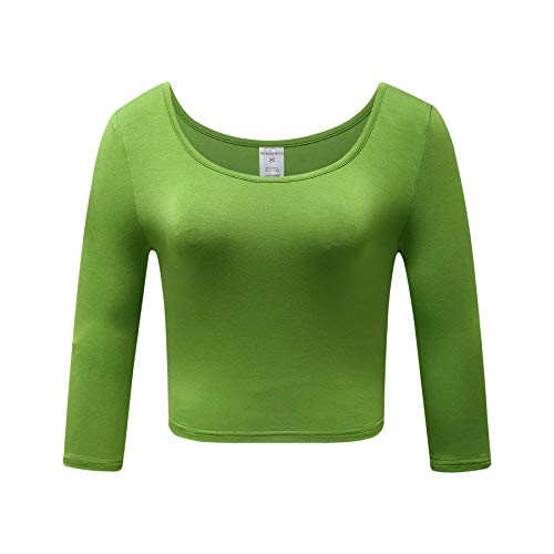 OThread & Co. Women's Crop Tops Basic Stretchy Scoop Neck 3/4 Sleeve T-Shirt (Large, Grass Green)