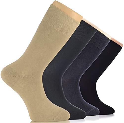 Hugh Ugoli 4 Pairs Men's Cotton Dress Socks Seamless Toe Business Crew Men Socks (Beige/Dark Green/Charcoal Grey/Black)