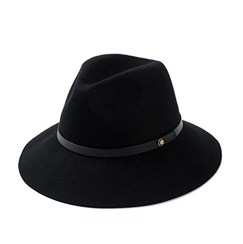 Black Crushed Leather (Unisex Crushable Leather Trim Wool Felt Fedora Hat (Black))