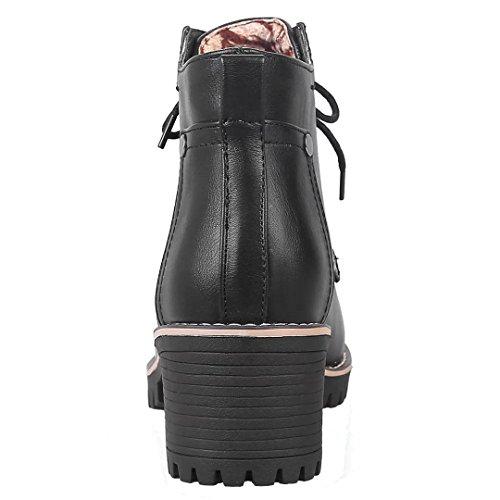 AIYOUMEI Damen Lace Up Stiefeletten mit Schnürsenkel und 6cm Absatz Herbst Winter Schnürstiefeletten Schwarz
