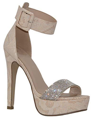 - MVE Shoes Women's Open Toe Buckle Ankle Strap Platform High Heel Sandal, Nude Nbpu Size 8
