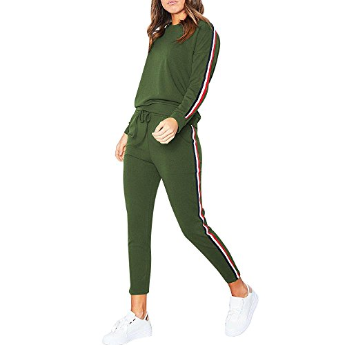 Dreamyth-Winter 2PCS Womens Tracksuit Hoodies Sweatshirt Top Pants Sets Sport Wear Casual Suit (Green, S)