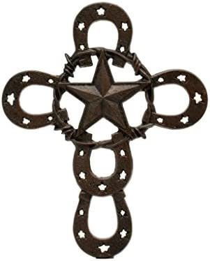 Western Moments Unisex Horseshoe Star Iron Wall Cross Brown One Size