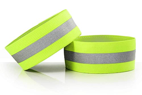 Reflective Ankle Bands,High Visibility Safety Reflective Adjustable Armbands Strap Perfect for Runners, Walkers, Cyclists and as Bike Pant Leg Straps(Pack of 2) Useful and Practical