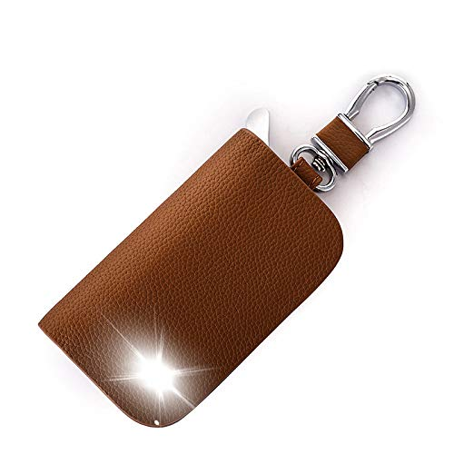 SNCN Genuine Leather Car Key Case Key Wallets Remote Protector Cover for MG 3 6 ZT-T TF ZR ZT GS ZS Auto Key Keychain Holder Color Name Brown Size Without Logo