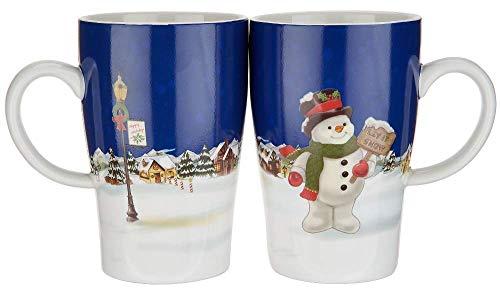 Lenox Set of 2 Heat Change Porcelain color changing Mug Set of 2 Snowman Blue new in - Snowman Color Change