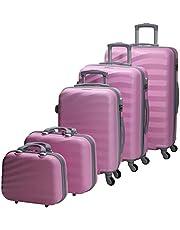 تشاليش حقائب سفر بعجلات للجنسين 5 قطع ، زهري