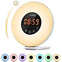 Touch Control Alarm Clock,Sunrise Alarm Clock Wake Up Light Atmosphere Lamp with Sunrise and Sunset Simulation, 10 Brightness,Optional RGB Night Light, 7 Colors& FM Radio &Snooze Function