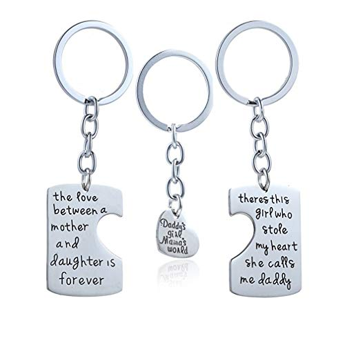 Price comparison product image andy cool 3 Piece Keychain Pendant Necklace Set Daddy's Girl Mommy's World Mother Daughter Father Family Necklace Set Useful and Practical