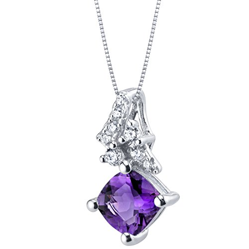 Sterling Silver Cushion Cut Flair Pendant Necklace in Various Gemstones