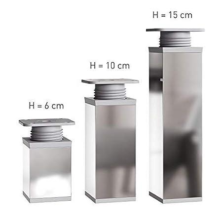 Farbe: Chrom 8 St/ück Design-M/öbelf/ü/ße Doppelpack H/öhe: 120mm Vierkant-Profil: 40 x 40 mm 2 x 4er Set +20mm h/öhenverstellbar | Material: Aluminium//Kunststoff Sossai/® MFV1-CH