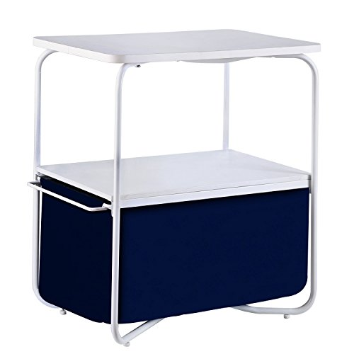1208S 3 Tier Accent End Table Sofa Side Tables with Storage Drawer for Bedroom Living Room Small Space, White Dark Blue