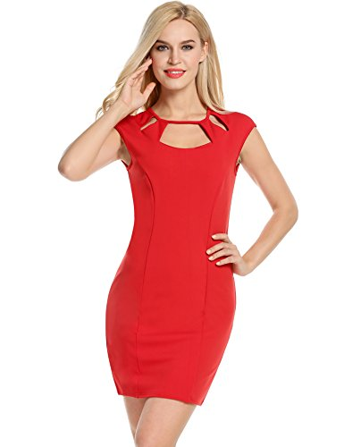 Autumn Lace Hollow Out Slim Party Dresses(Red) - 2