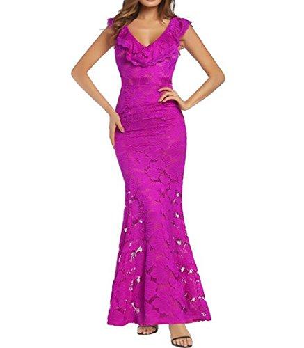 HEFEI Vestido Formal de Encaje de Sirena Sexy con Hombros Descubiertos para Mujer XIAOXIAO (Color : Rosado, tamaño : L)