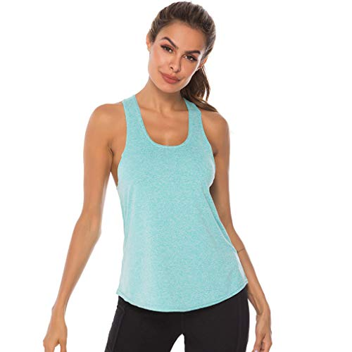 TIANMI Women Sport Fitness Tank Top Casual Summer Solid Athletic Undershirt Yoga T-Shirt Quick Dry Beach Vest Blue