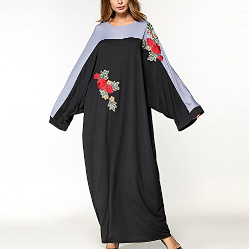 Zhhlinyuan Special Embroidered Flowers Gown Robe Muslims Women Dresses For Abaya at Amazon Womens Clothing store: