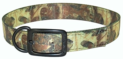 Hamilton Double Thick Dog Collar with Extended Dee Ring, 22-Inch, Leaf Pattern