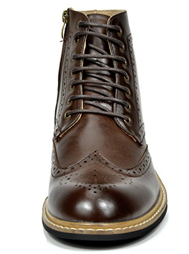 Bruno MARC BERGEN-01 Men's Formal Classic Lace Up Leather Lined Perforated Design Tall Ankle Oxford Boots DARK BROWN SIZE 11