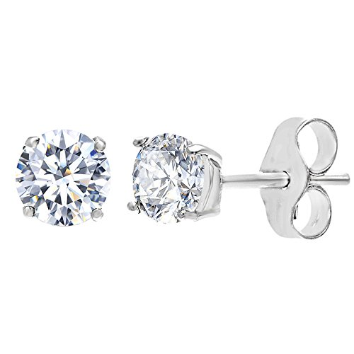 Mia Sarine Womens Cubic Zirconia 7MM Round Stud Earring in 4 Prong Basket Setting of Rhodium over Sterling Silver (Sterling Silver Sparkle)