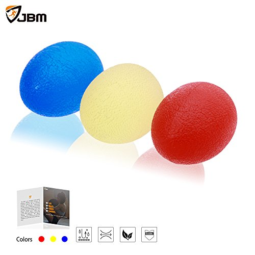 JBM Squeeze Stress Balls Stress Relief Ball Grip Exerciser Ball Set of 3 Resistance Hand Exercise Squeeze Eggs and Grip Strengthening Hand Exercise Training equipment For Hand Wrist Finger Forearm