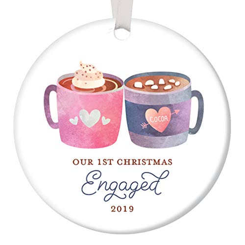 First Christmas Engaged Ornament 2019 Cute Cocoa Mugs Engagement Party Present Future Newlywed Bride & Groom 1st Holiday Engaged Couple Keepsake 3