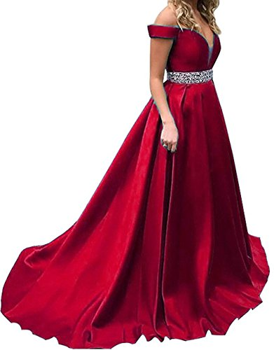 f42d80b3aa BessDress Beaded Illusion V Neck Prom Dresses 2018 Off The Shoulder Evening  Party Gown BD432