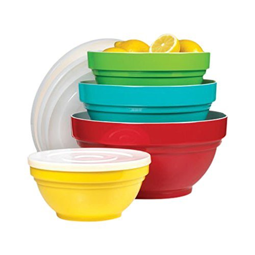 4 Melamine Bowl Set with Lids