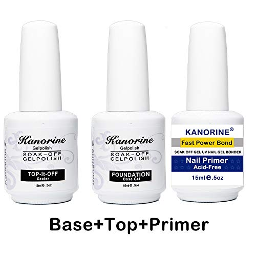Kanorine UV/LED Nail Gel Polish 3 in 1 Set(Nail Primer+Base Coat +Top Coat) non-acid Natural Nail Primer/Acrylic Nails Primer gel bonder agent Bonder soak off no wipe GelPolish 15mlx3