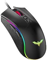 havit RGB Wired Gaming Mouse 4800 Dots Per Inch Programmeerbare ergonomische muis met 7 toetsen en 7 kleuren achtergrondverlichting voor laptop, pc, computer, zwart (MS733)