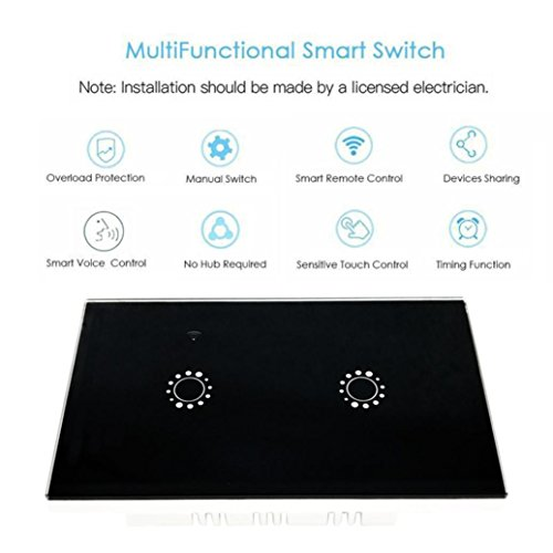 Switch Capacitive Hand Switch Wireless Remote Control Glass 2-gang Smart Home AU/US Crystal Waterproof Glass Touch Screen Light Switch&Mini Remote Wifi phone control (Black) by Liu Nian (Image #3)