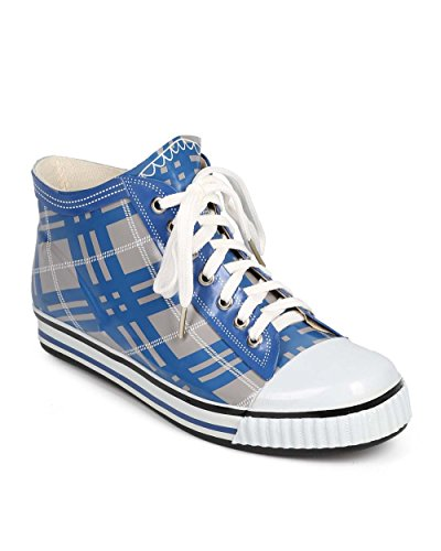 Misbehave Di72 Donna Jelly Plaid Cap Toe Classic Pull On Rain Sneaker Blu Scuro