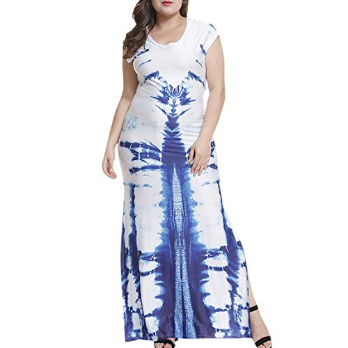 FAPIZI Womens Vintage Elegant Long Dress Casual O-Neck Short-Sleeved Printed Slim Split Skirt Party Prom Maxi Dress Blue