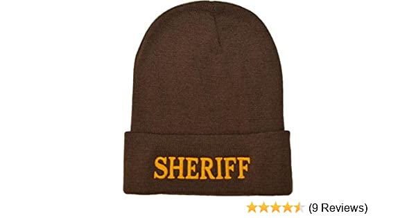 ad884241fd9 ... official 51ce7 08937 Amazon.com Brown knit beanie with gold embroidered  Sheriff C ...