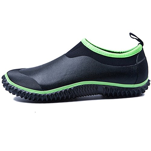 JOINFREE Womens Ankle Rain Boots Car Wash Gardening Shoes Black Green 11 M US Women/9 M US Men (Women Sketcher Boots Size 11)