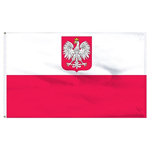 - ALBATROS 3 ft x 5 ft Ancestral Old Poland Polska Eagle Flag Civil Ensign House Banner 100D for Home and Parades, Official Party, All Weather Indoors Outdoors