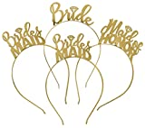 Bride & Bridal Party Headband Tiara Gift Set - 1 Bride, 1 Maid Of Honor & 2 Bridesmaid - Gold Bachelorette Party Accessories