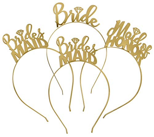Bride & Bridal Party Headband Tiara Gift Set - 1 Bride, 1 Maid Of Honor & 2 Bridesmaid - Gold Bachelorette Party Accessories by RhinestoneSash