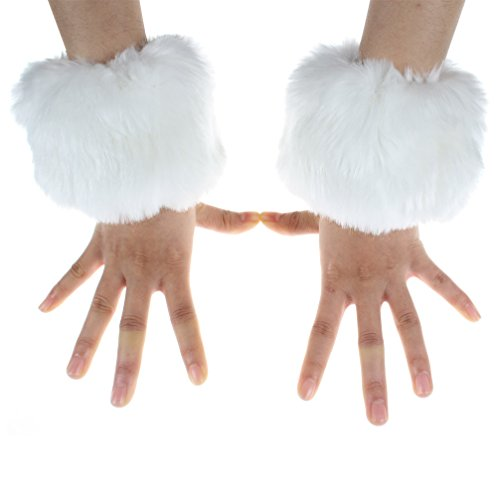 ECOSCO One Pair Faux Rabbit Fur Hair Soft Wrist Band Ring Cuff COZY FUZZY Warm Warmer Autumn Winter Cold Weather (White) ()