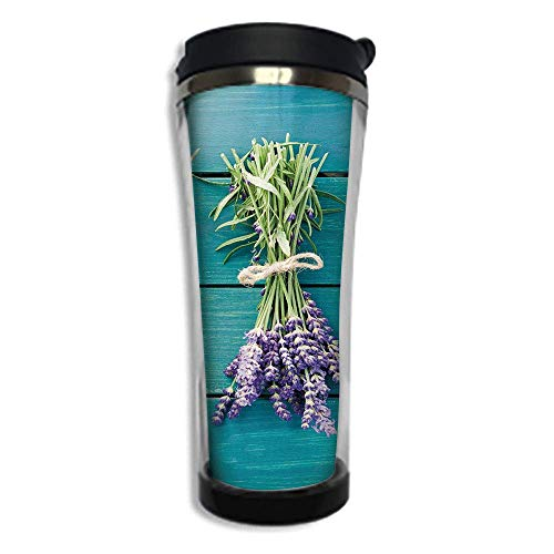 Stainless Steel Insulated Coffee Travel Mug,Spill Proof Flip Lid Insulated Coffee cup Keeps Hot or Cold 14.2oz(420 ml)Customizable printing byLavender,Fresh Lavender Bouquets on Blue Wooden Planks Rus ()