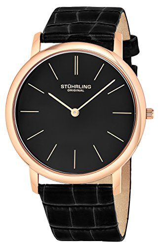 (Stuhrling Original Men's 601.3345K1 Analog Classic Ascot Swiss Quartz Ultra Thin Rose Tone Black Leather Strap Watch)