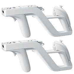 Aniann 2pack Zapper Light Gun For Nintendo Wii - Links Remote Nunchuk For Shooting Games(white)