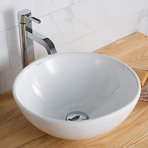 Kraus C-KCV-141-1007CH White Round Ceramic Sink and Ramus Faucet Chrome