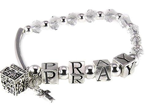 4030741 Pray Beaded Charm Stretch Bracelet Christian Religious Jewelry Prayer - Cross Prayer Box Charm