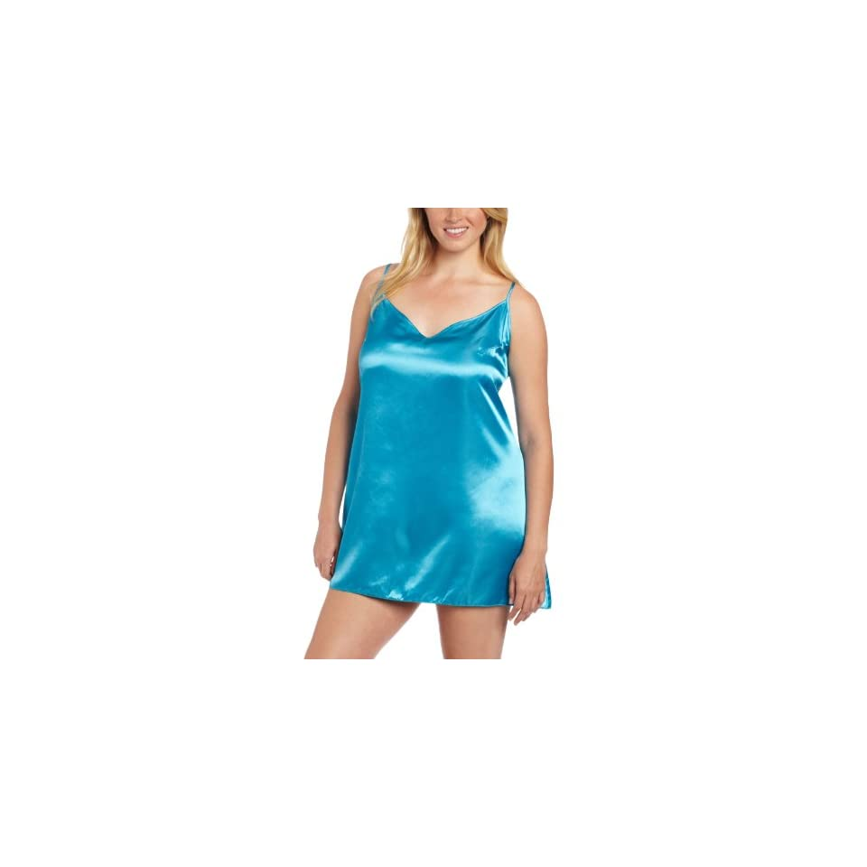 Dreamgirl Womens Plus Size Charmeuse Chemise and Robe Set