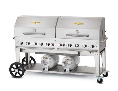 Crown Verity CV-RCB-60RDPRDP 60'' Pro Series Liquid Propane Grill with 129000 BTU Capacity Role Dome Adjustable Bun Rack Two 14'' Wheels and Two Total Casters in Stainless