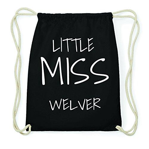 JOllify WELVER Hipster Turnbeutel Tasche Rucksack aus Baumwolle - Farbe: schwarz Design: Little Miss
