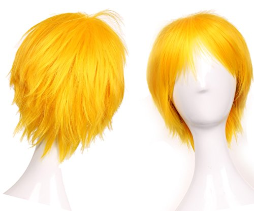 Snoilite Women Mens Short Straight Hair Wig Unisex Cosplay Cartoon Party Costume Hairstyle Synthetic Full Wigs Yellow