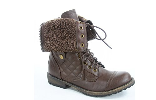Womens Quilted Lace up Faux Fur Fold Over Mid Calf Dress Boots in Black, Tan, Brown Brown