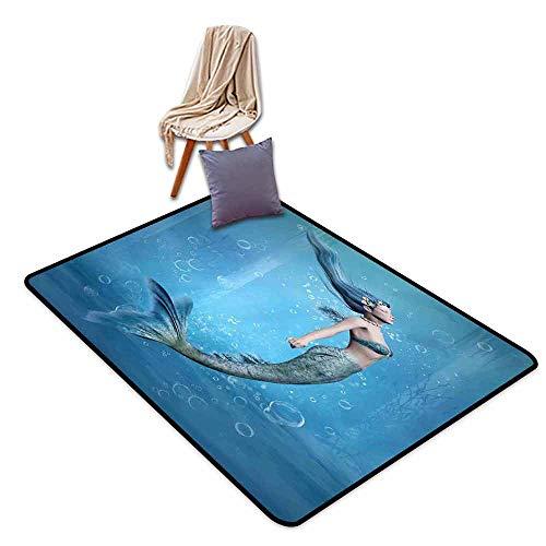 - Bath Rug Mermaid Decor Mermaid Fishtail Floating Bubbles Mythical Creature Fairy Ocean Life Art Durable W59 xL71