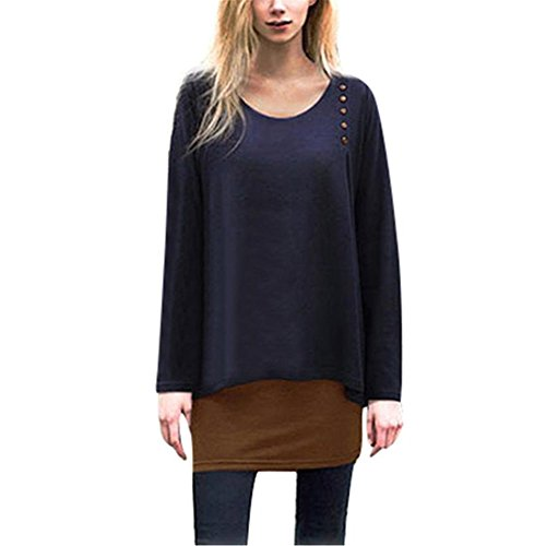 Kimloog Women Long Sleeve Fake Two Piece Asymmetry Hem Tunic Tops Blouse Scoop Neck T-Shirts (2XL, Navy)
